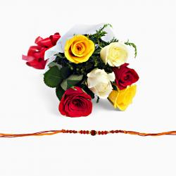 Single Rakhi with Mix color roses bouquet
