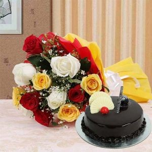 Mix color roses with cake
