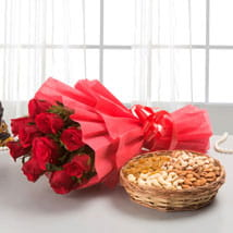 Red roses with dry fruits